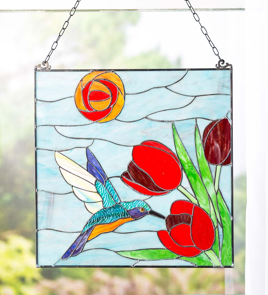 Stained Glass Hummingbird And Tulips Art Panel with Metal Frame and Chain