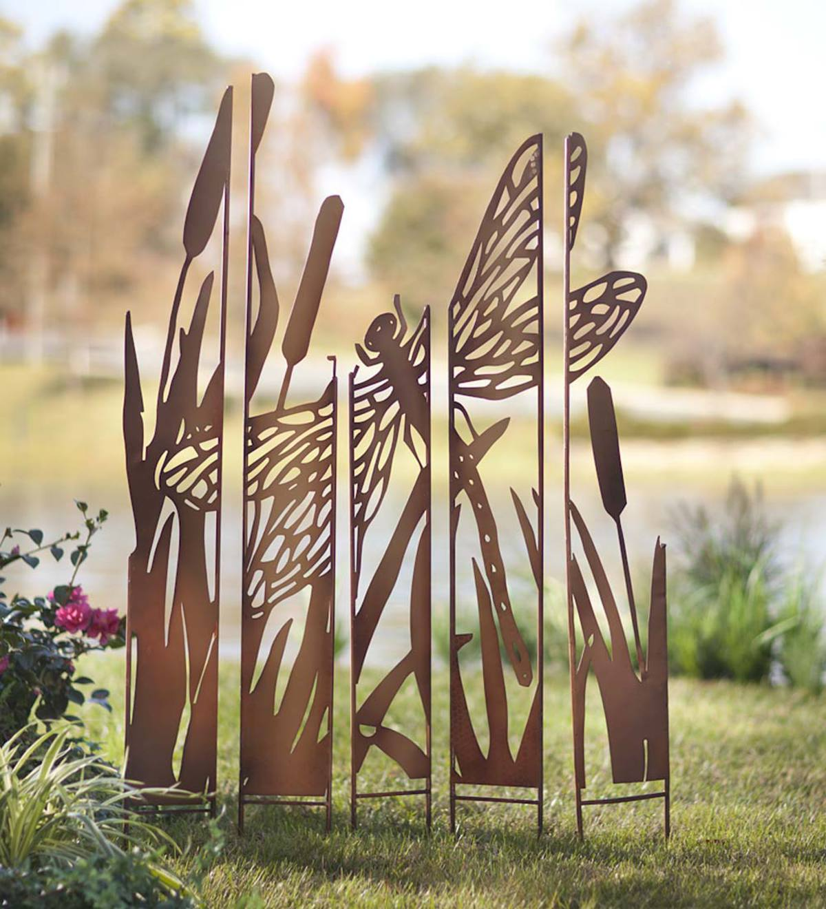 Metal Garden Panel Stakes  - Free 2 Day Delivery - Dragonfly