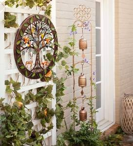 Three-Bell Wind Chime Metal Garden Stake With Weathered Bronze-Colored Finish
