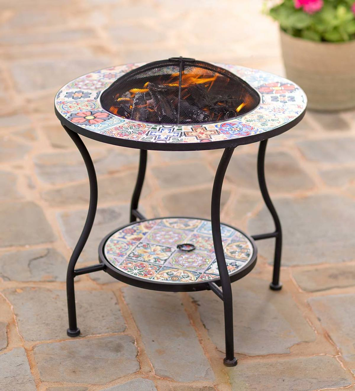 Mosaic Tile Convertible Fire Pit Side Table Wind And Weather