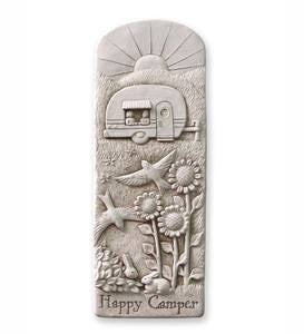 Cast Stone Happy Camper Wall Plaque