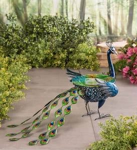 Vibrant Metal Peacock Birdbath with Glass Bowl