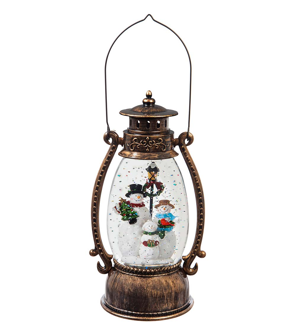 Snowman LED Lantern with Spinning Action Table Decor