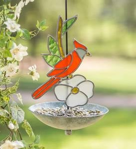 Stained Glass Cardinal Bird Feeder