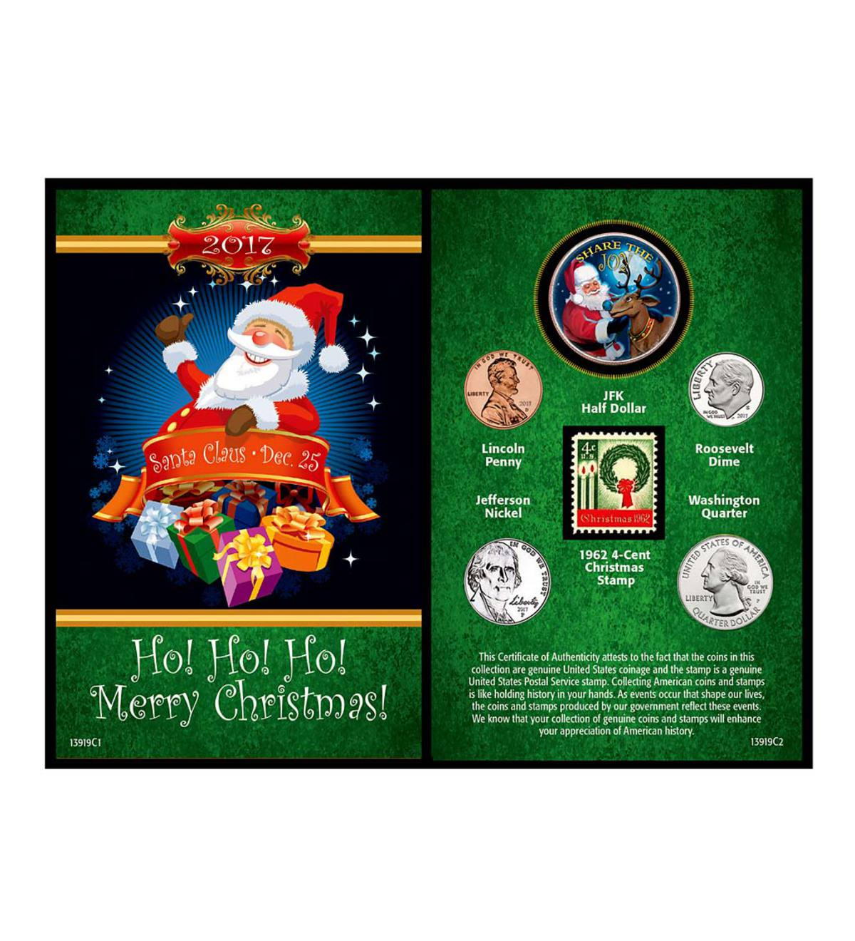 Santa Greeting Card Coin and Stamp Set