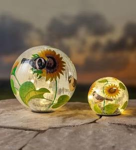 Crackle Glass Sunflower And Birds Lighted Globes, Set of 2