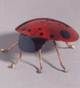 Colorful Copper Ladybug with Garden Stake