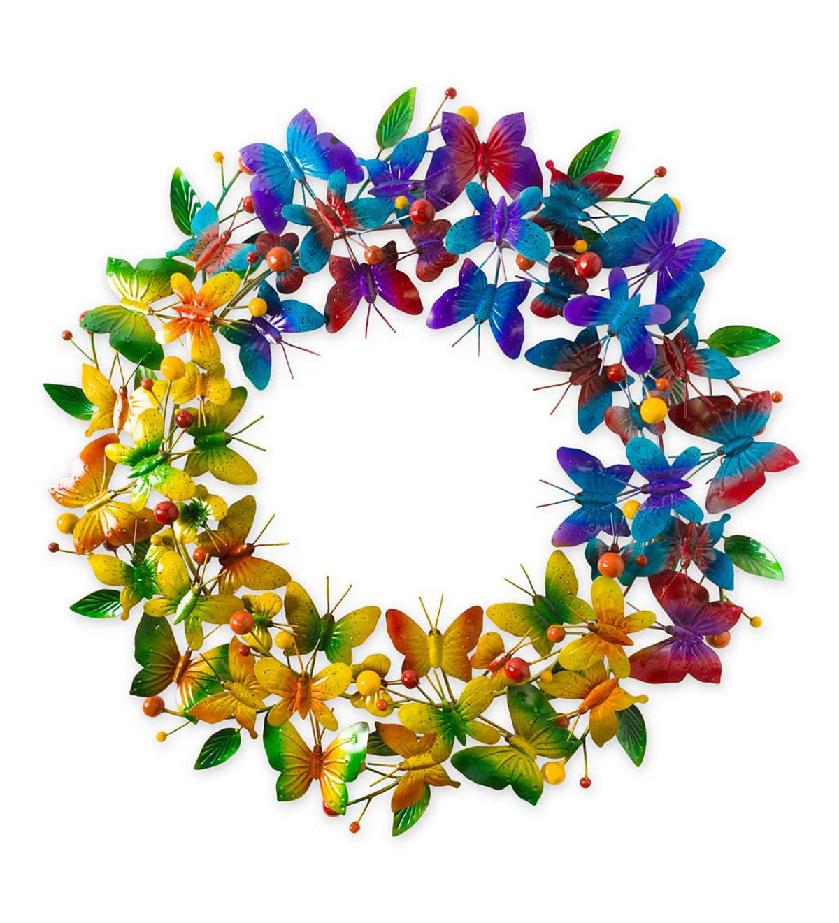 Metal Butterfly Rainbow Wreath