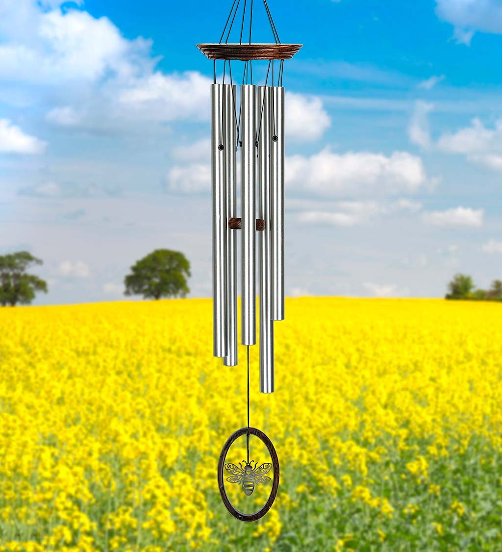 Bumble Bee Wind Chime with Aluminum Tubes and Wooden Top
