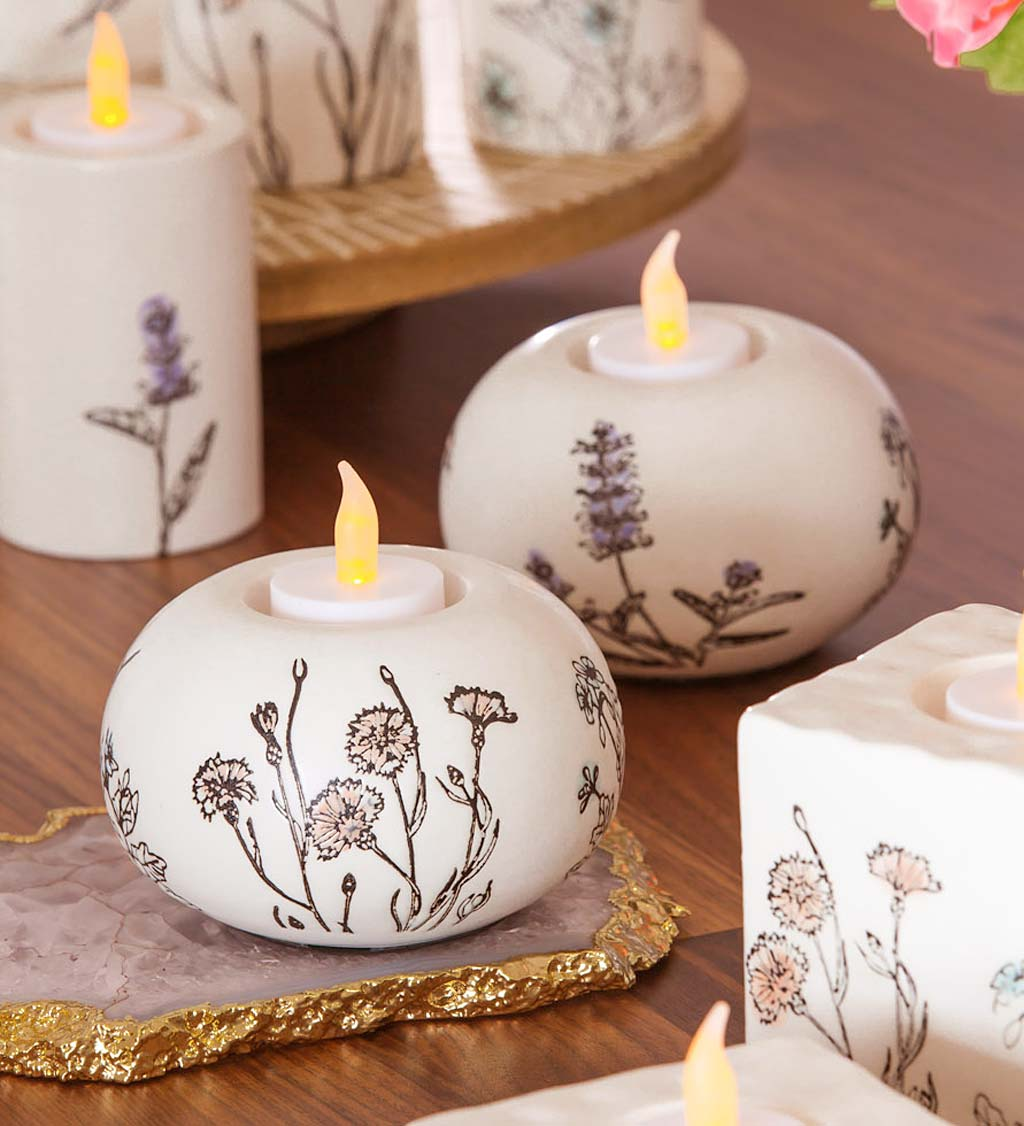 Stamped Botanical Ceramic Tealight Candle Holders, Set of 2
