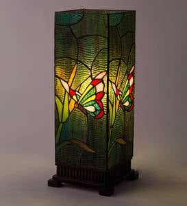 Stained Glass Butterfly Box Table Lamp with Glass Jewels