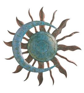 Handcrafted Blue and Copper-Colored Recycled Metal Moon and Sun Wall Art