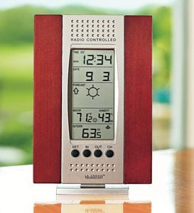 Wireless Weather Forecast Station with Cherry Finish Wood Frame
