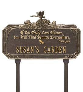 Personalized Van Gogh Dragonfly Garden Plaque - Bronze/Gold
