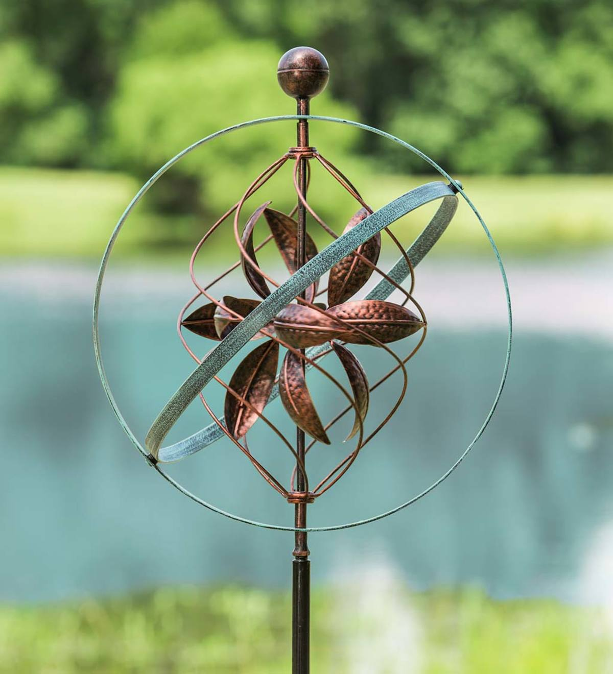 Bronze and Patina Spiral Metal Wind Spinner