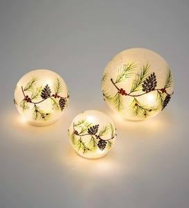 Lighted Holiday Frosted Glass Pinecone Globes, Set of 3