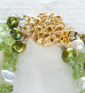 Triple Strand Freshwater Pearl and Peridot Necklace