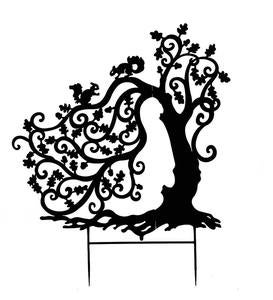 Laser-Cut Metal Twisting Tree with Squirrels Silhouette Garden Stake