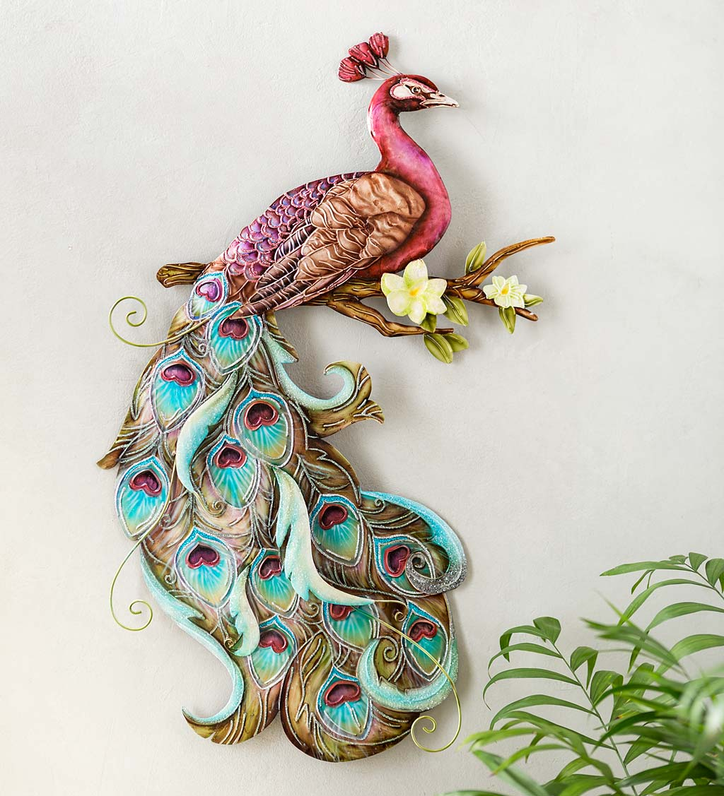 Colorful Handcrafted Metal and Capiz Peacock Wall Art