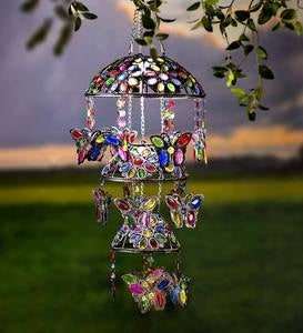 Three-Tiered Solar Jeweled Lighted Butterfly Mobile
