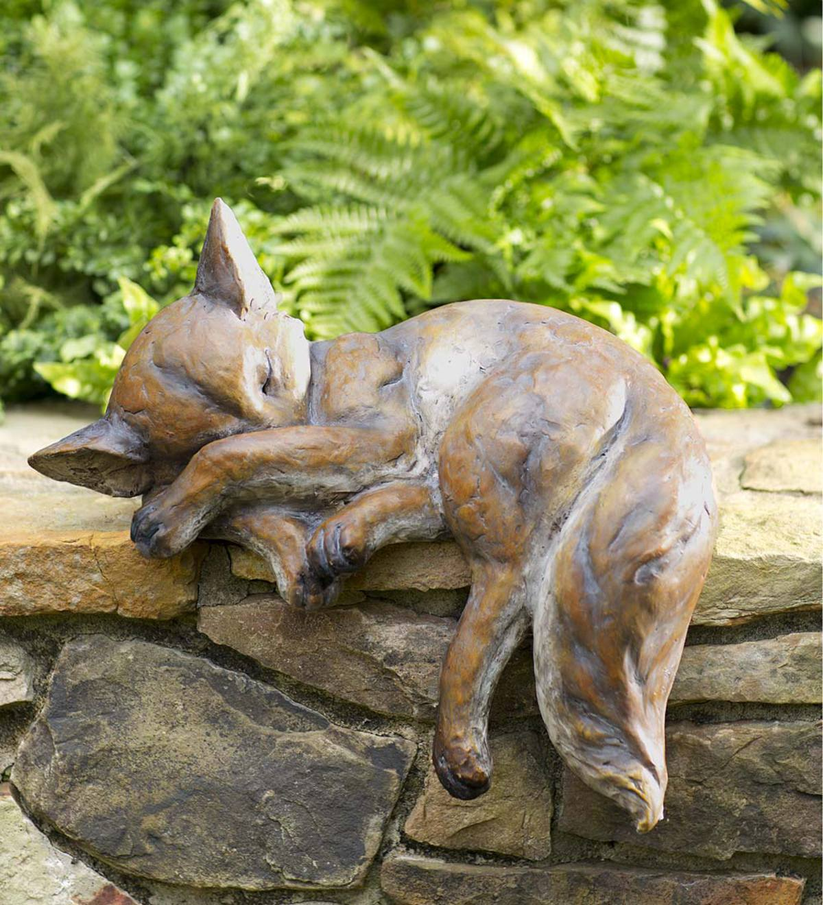 Indoor/Outdoor Detailed Sleeping Fox Cast Resin Sculpture