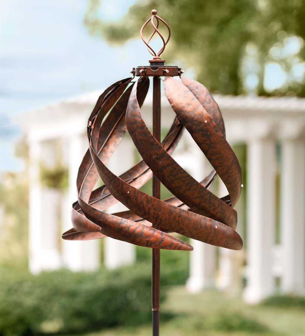 Copper-Colored Spiral Metal Wind Spinner with Solar Lights