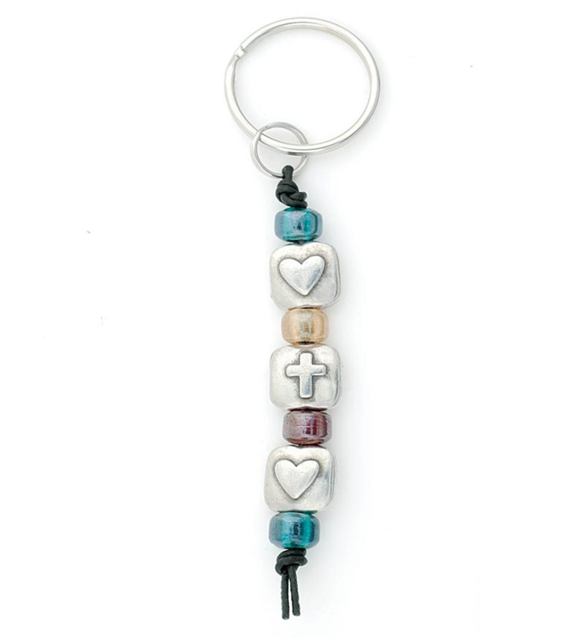 Inspirational Cross & Glass Bead Key Ring - Two Hearts