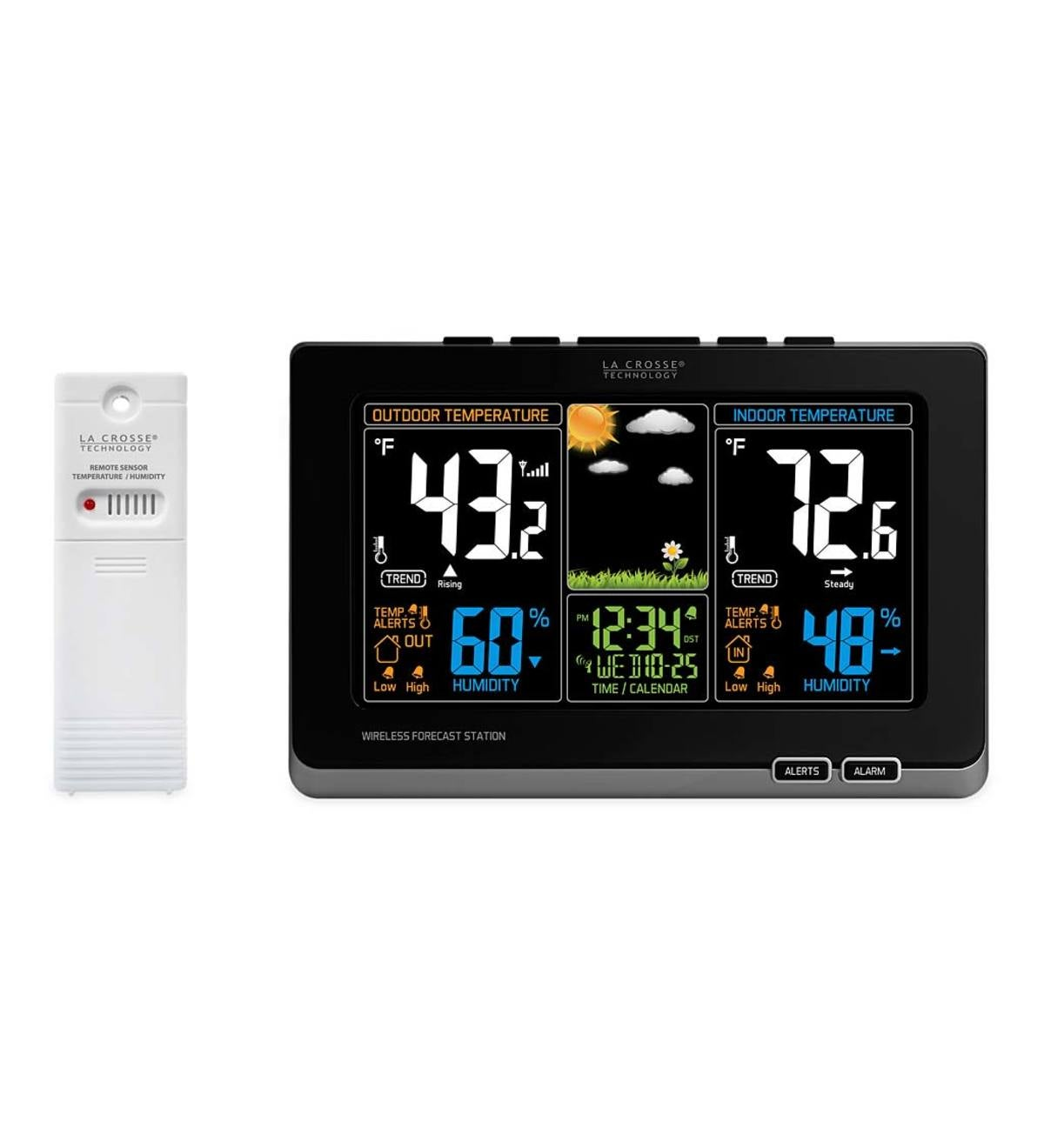 La Crosse Color-Display Weather Station with Wireless Outdoor Remote Sensore - Black