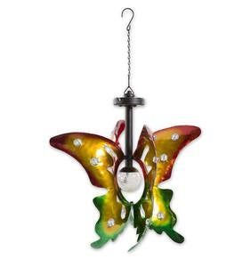 Hanging Butterfly Spinner with Solar Globe