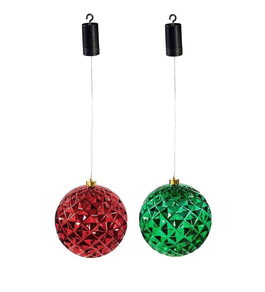 "8"" Indoor/Outdoor Lighted Shatterproof Hanging Holiday Faceted Ball Ornaments, Set of 2 - Green/Red"