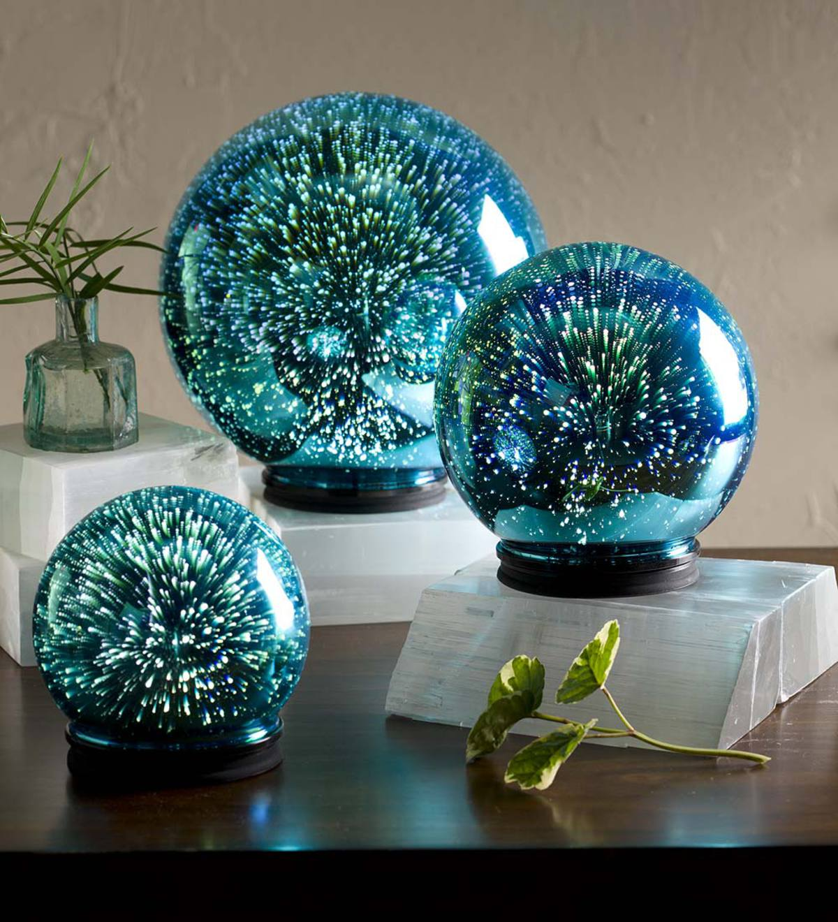 3d Lighted Mercury Glass Balls Set Of 3 Blue Wind And