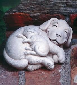 Smiling Puppy and Kitten Cast Stone Sculpture
