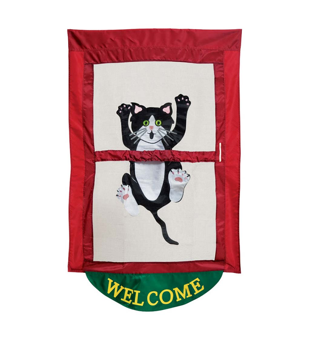 Climbing Kitty House Flag