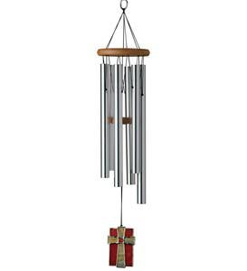 Anodized Aluminum And Cherry Amazing Grace Wind Chime With Stained Glass Cross Wind Catcher