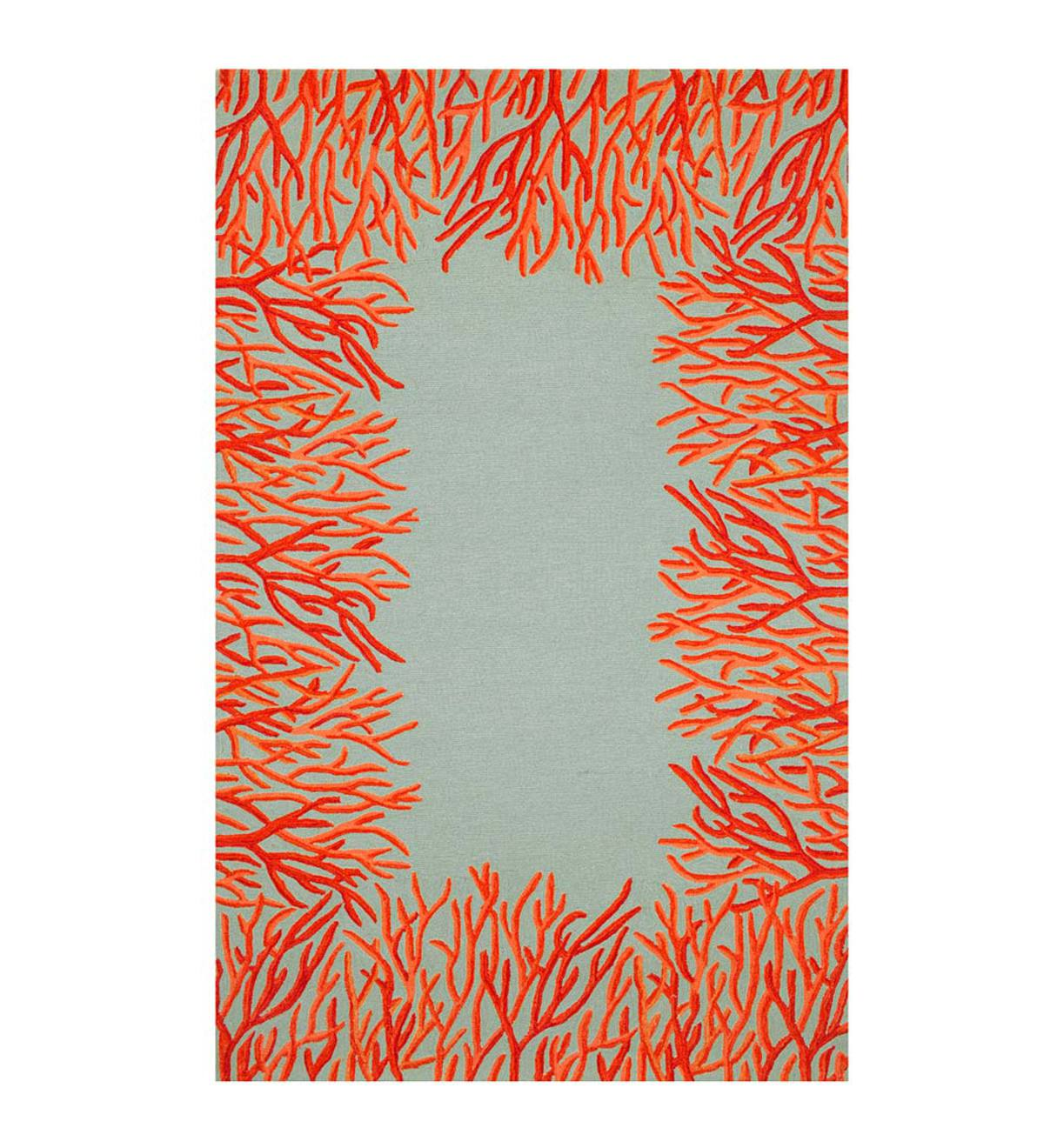 Orange Coral Border Indoor/Outdoor Rug, 5'W x 7'6