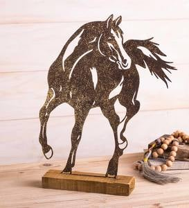 Iron Horse Silhouette on Wooden Stand