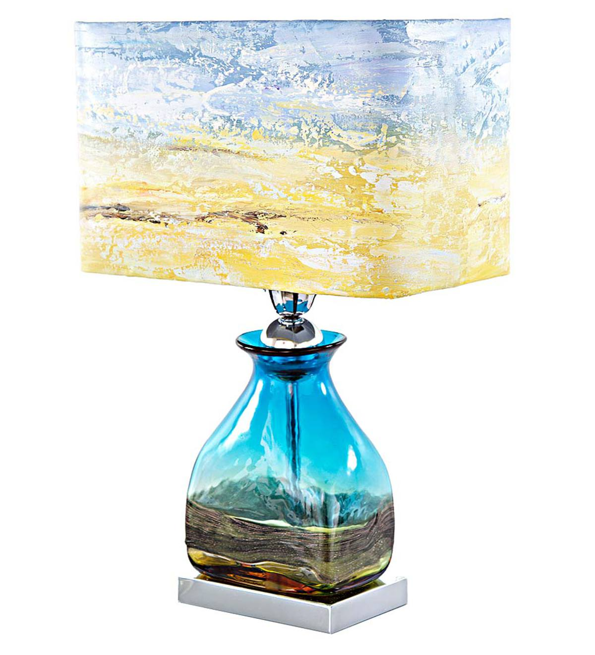 Glass Table Lamp with Hand-Painted Sunrise Shade