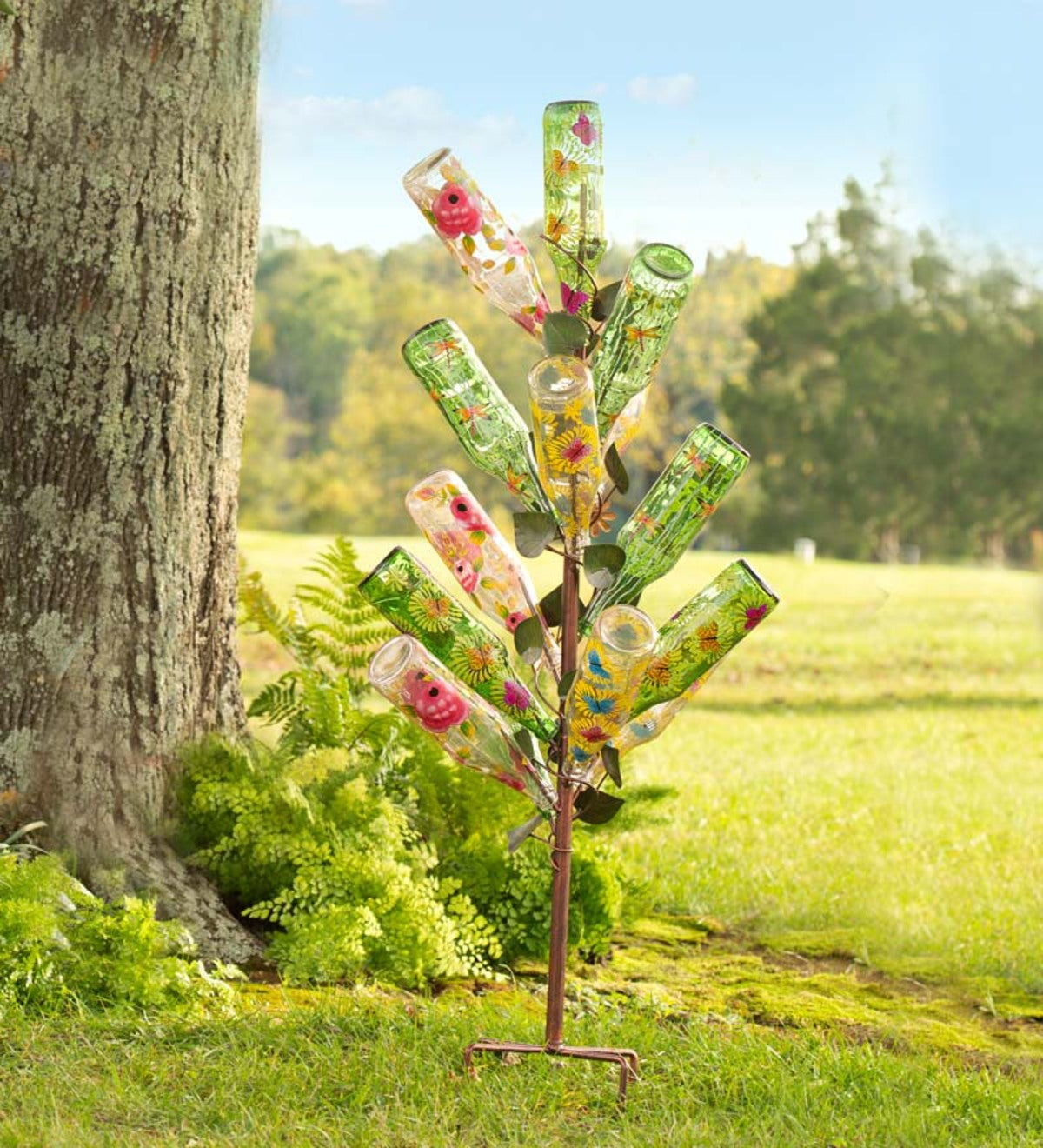 Metal Ivy Bottle Tree with Set of 14 Glass Bottles | Wind and Weather