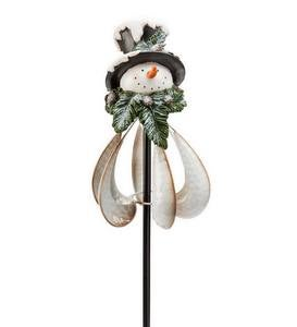 Metal Holiday Snowman Wind Spinner