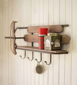 Retro Wood and Metal Sled Wall Shelf