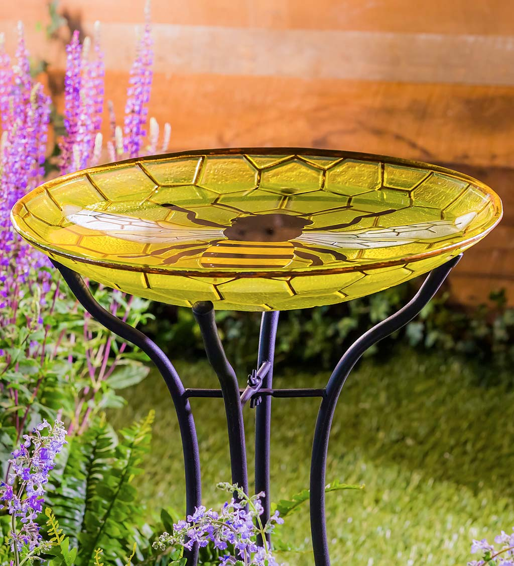 Bee Glass Birdbath