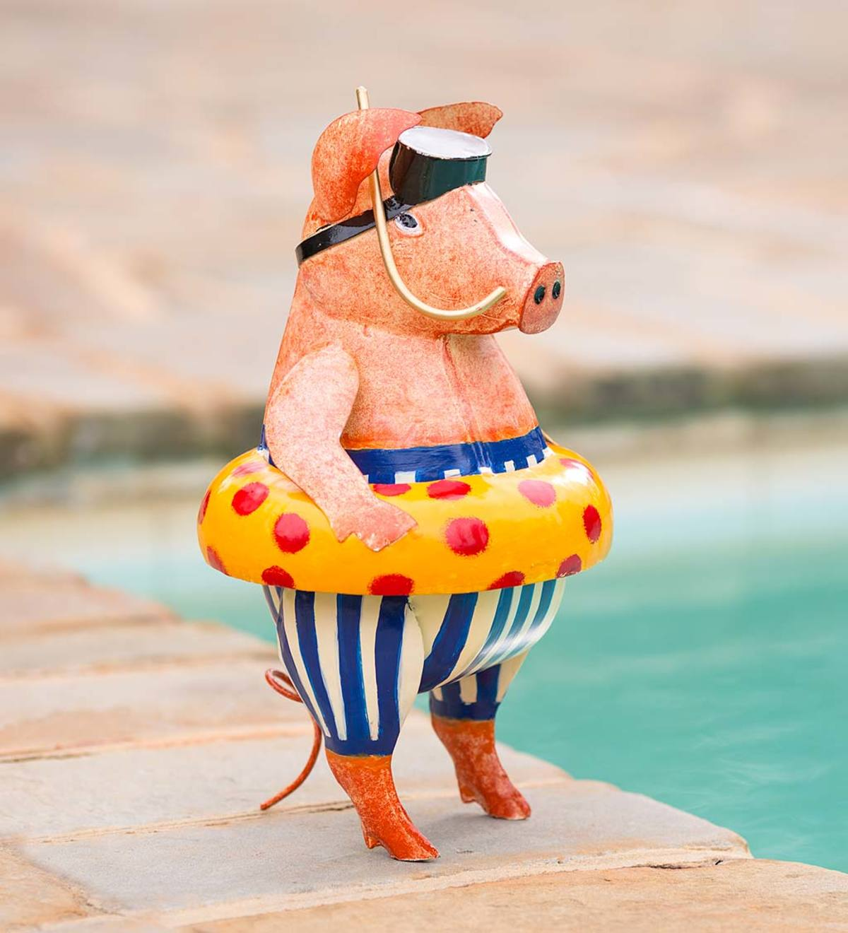 Handcrafted Metal Pig with Inner Tube Indoor/Outdoor Sculpture