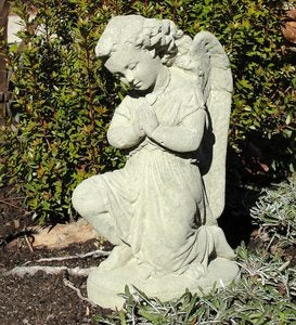 Handcrafted Stone Vintage Praying Angel Garden Sculpture
