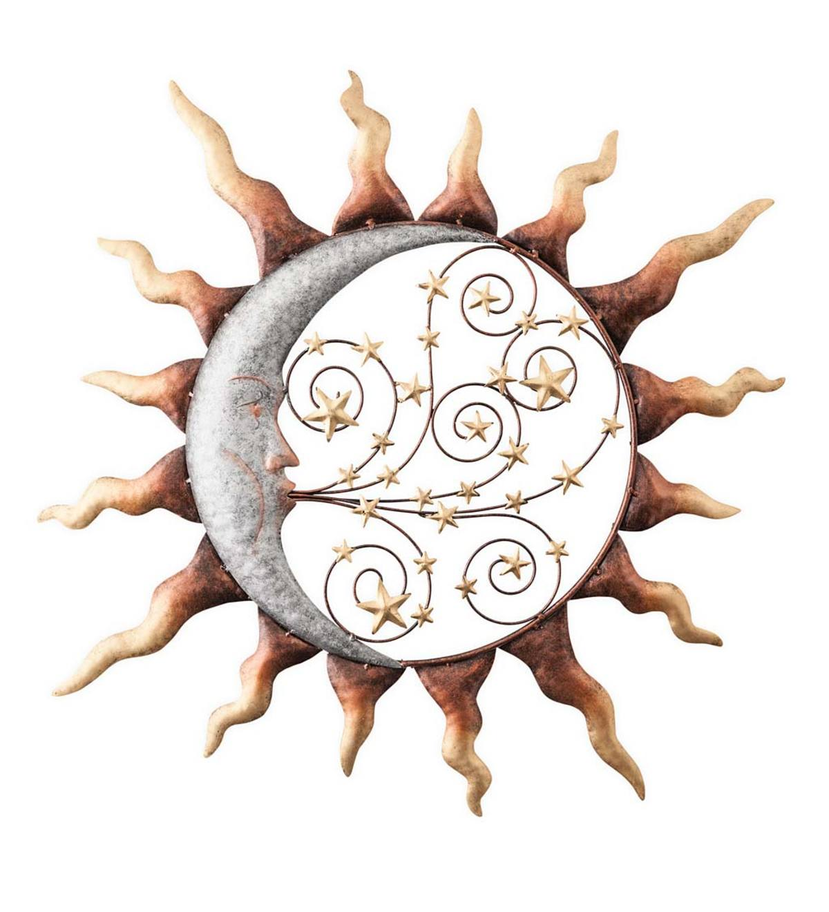 Handcrafted Metal Sun, Stars and Blowing Moon Wall Art