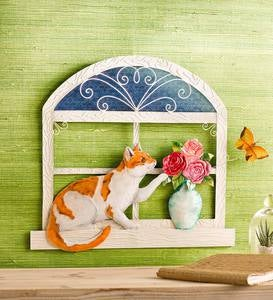 Cat and Butterfly 3-D Metal Wall Art