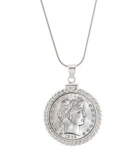 Sterling Silver Barber Quarter Necklace