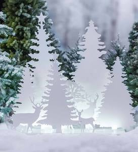Lighted Metal Deer and Trees Silhouettes Diorama