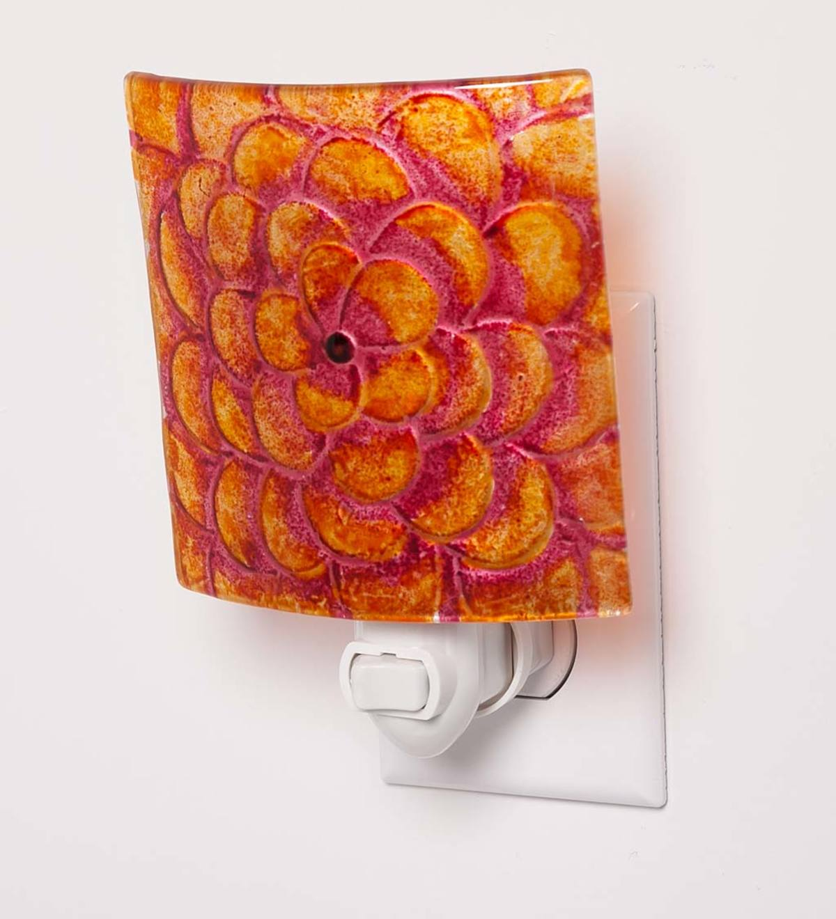 Hand-Painted Glass Nightlight with Flower Design