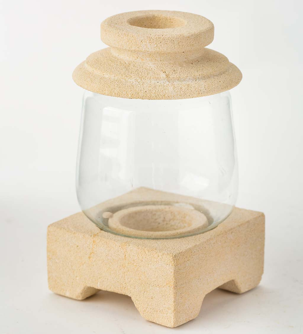 Zen-Inspired Stone and Glass Tea Light Candle Holder
