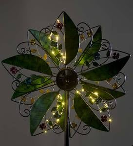 Metal Leaf and Flower Wind Spinner with Solar Lights